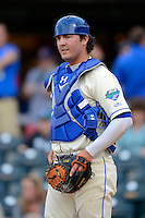 Lexington Legends catcher Cameron Gallahger #25 during a game against the Greenville Drive on April 18, 2013 at Whitaker Bank Ballpark in Lexington, Kentucky.  Lexington defeated Greenville 12-3.  (Mike Janes/Four Seam Images)