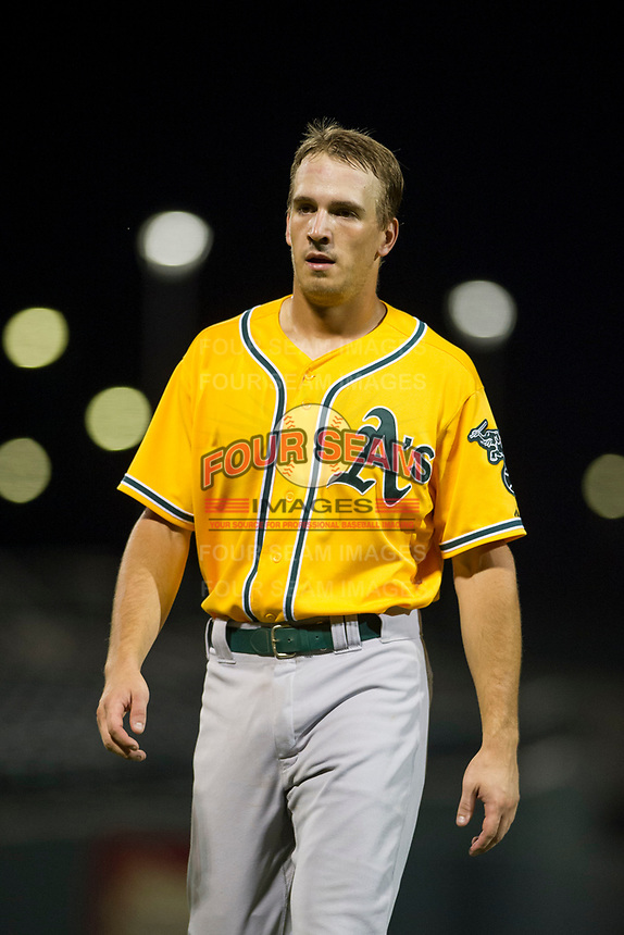 AZL Athletics first baseman Jake Lumley (31) between innings during a game against the AZL Cubs on August 9, 2017 at Sloan Park in Mesa, Arizona. AZL Athletics defeated the AZL Cubs 7-2. (Zachary Lucy/Four Seam Images)