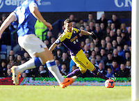 Pictured: Alvaro Vazquez of Swansea. Sunday 16 February 2014<br /> Re: FA Cup, Everton v Swansea City FC at Goodison Park, Liverpool, UK.