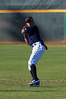 AZL Indians Red Jean Montero (15) warms up before an Arizona League game against the AZL Padres 1 on June 23, 2019 at the Cleveland Indians Training Complex in Goodyear, Arizona. AZL Indians Red defeated the AZL Padres 1 3-2. (Zachary Lucy/Four Seam Images)