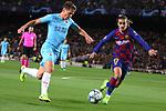 UEFA Champions League 2019/2020.<br /> Matchday 4.<br /> FC Barcelona vs SK Slavia Praha: 0-0.<br /> Vladimir Coufal vs Antoine Griezmann.