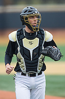 Wake Forest Demon Deacons catcher Nick Bisplinghoff (39) on defense against the Towson Tigers at Wake Forest Baseball Park on March 1, 2015 in Winston-Salem, North Carolina.  The Demon Deacons defeated the Tigers 15-8.  (Brian Westerholt/Four Seam Images)