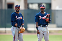 Atlanta Braves Kevin Josephina (87) and Jose Bautista (1) during a Minor League Extended Spring Training game against the Philadelphia Phillies on April 20, 2018 at Carpenter Complex in Clearwater, Florida.  (Mike Janes/Four Seam Images)