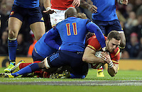 George North of Wales (R) scores a try during the Wales v France, 2016 RBS 6 Nations Championship, at the Principality Stadium, Cardiff, Wales, UK