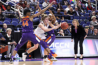 GREENSBORO, NC - MARCH 6: Taylor Ortlepp #4 of Boston College escapes a trap by Kobi Thornton #44 and Shania Meertens #31 of Clemson University during a game between Clemson and Boston College at Greensboro Coliseum on March 6, 2020 in Greensboro, North Carolina.