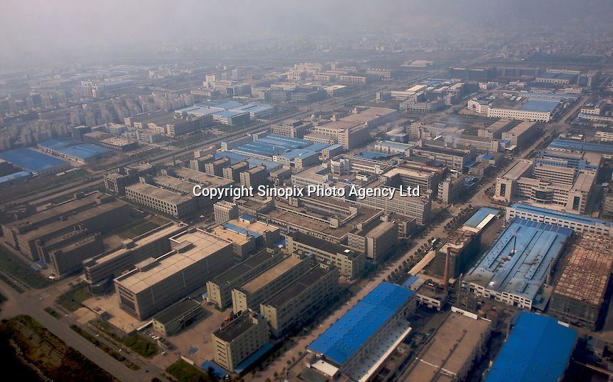 Top view of the industrial zone near the airport of Wenzhou city, Zhejiang, China. Wenzhou is home to China's largest pool of private floating capital - 600 billion yuan US$87.8 billion) by some estimates - and it has long been hailed as a symbol of the country's private economy..28 Oct 2008