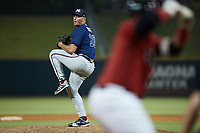 Mississippi Braves relief pitcher Indigo Diaz (16) in action against the Birmingham Barons at Regions Field on August 3, 2021, in Birmingham, Alabama. (Brian Westerholt/Four Seam Images)