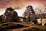 Fushimi Castle, Fushimi-jo in Kyoto, also known as Fushimi-Momoyama Castle or Momoyama Castle famous for its golden tea room. Colorful red sunset autumn scenery. Azuchi–Momoyama period Japanese castle in Fushimi-ku ward, Kyoto, Japan 2017 Image © MaximImages, License at https://www.maximimages.com
