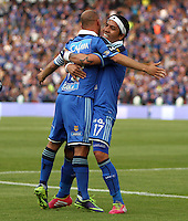 BOGOTA -COLOMBIA. 29-03-2014. Mayer Candelo de Millonarios   celebra su gol contra Patriotas de Boyaca F.C. partido por la treceava  fecha de La liga Postobon 1 disputado en el estadio Nemesio Camacho El Campin. /   Mayer Candelo  of Millonarios  celebrates his goal  against Patriotas de Boyaca F.C.  during the match for the thirteenth round of The Postobon one league match at Nemesio Camacho El Campin  Stadium . Photo: VizzorImage/ Felipe Caicedo / Staff