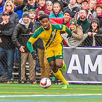 15 November 2015: University of Vermont Catamount Forward Brian Wright, a Junior from Ajax, Ontario, in action against the Binghamton University Bearcats at Virtue Field in Burlington, Vermont. The Catamounts shut out the Bearcats 1-0 in the America East Championship Game. Mandatory Credit: Ed Wolfstein Photo *** RAW (NEF) Image File Available ***