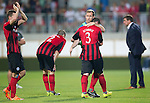 Spartak Trnava v St Johnstone...07.08.14  Europa League Qualifier 3rd Round<br /> Frazer Wright consoles Tam Scobbie at full time<br /> Picture by Graeme Hart.<br /> Copyright Perthshire Picture Agency<br /> Tel: 01738 623350  Mobile: 07990 594431