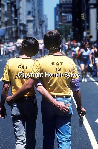 "Gay Parade "" Gay is Proud"" slogan T shirts,Manhattan  New York USA 1981"