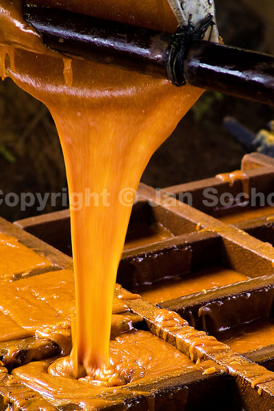 A hot sugar cane juice poured into a wooden mold during the processing of panela in a rural sugar cane mill (trapiche) in San Agustín, Colombia, 18 April 2004. Panela, a solid block of raw, unrefined sugar, is made by cooking and evaporation of the sugar cane juice into a golden, sticky syrup which is then poured into the wooden molds and allowed to solidify. Having the taste like a cross between molasses and brown sugar, panela is served as a hot or cold infusion (aguapanela). Due to the large amounts of proteins, vitamins and minerals and thus, panela is believed to have healing powers. Cheaper than sugar, it is consumed by the majority of Colombians and it is a major source of calories for children from families with low socioeconomic status. With more than 70,000 farms that cultivate sugarcane for mills, panela production is an important economic activity in the Colombian countryside, employing around 350,000 people and being the second largest source of jobs after agricultural coffee production.