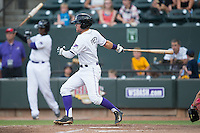 Jake Peter (3) of the Winston-Salem Dash follows through on his swing against the Salem Red Sox at BB&T Ballpark on June 18, 2015 in Winston-Salem, North Carolina.  The Red Sox defeated the Dash 8-2.  (Brian Westerholt/Four Seam Images)