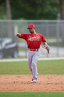 St. Louis Cardinals shortstop Edmundo Sosa (19) throws to first base during a Minor League Spring Training game against the New York Mets on March 31, 2016 at Roger Dean Sports Complex in Jupiter, Florida.  (Mike Janes/Four Seam Images)