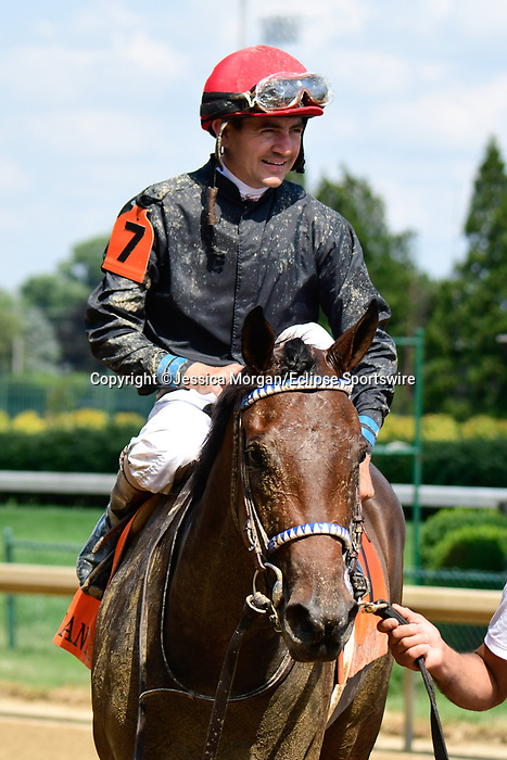 June 26, 2021: Behave Virginia, #7, ridden by jockey Brian Hernandez Jr., wins the Debutante Stakes for two-year-old fillies at Churchill Downs on June 26, 2021 in Louisville, Kentucky. Jessica Morgan/Eclipse Sportswire/CSM