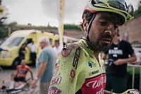 Jacopo Mosca's (ITA/Wilier Triestina - Selle Italia) post-race face & scars<br /> <br /> 3rd Dwars Door Het hageland 2018 (BEL)<br /> 1 day race:  Aarschot > Diest: 198km