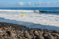 Surfers and bodyboarders in the water at Waipi'o Valley, Big Island.