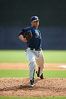 Pitcher Jesus Luzardo (16) of Marjory Stoneman Douglas High School in Parkland, Florida playing for the Tampa Bay Rays scout team during the East Coast Pro Showcase on July 28, 2015 at George M. Steinbrenner Field in Tampa, Florida.  (Mike Janes/Four Seam Images)