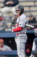 Rutgers Scarlet Knights catcher Tyler McNamara (28) at the plate against the Michigan Wolverines on April 27, 2019 in the NCAA baseball game at Ray Fisher Stadium in Ann Arbor, Michigan. Michigan defeated Rutgers 10-1. (Andrew Woolley/Four Seam Images)
