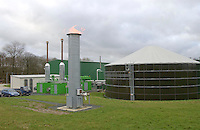 Gas is flared during a testing process at Holsworthy bio gas plant, Devon.