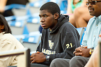 Kevin Jordan watches the game against the Miami Hurricanes at Gene Hooks Field on March 19, 2011 in Winston-Salem, North Carolina.  The Hurricanes defeated the Demon Deacons 4-3.  Photo by Brian Westerholt / Four Seam Images