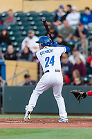 Omaha Storm designated hitter Cheslor Cuthbert (24) during a Pacific Coast League game against the Memphis Redbirds on April 26, 2019 at Werner Park in Omaha, Nebraska. Memphis defeated Omaha 7-3. (Zachary Lucy/Four Seam Images)
