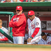 15 May 2016: Washington Nationals Manager Dusty Baker (right) watches play from the dugout alongside his hitting coach Rick Schu (left) during a game against the Miami Marlins at Nationals Park in Washington, DC. The Marlins defeated the Nationals 5-1 in the final game of their 4-game series.  Mandatory Credit: Ed Wolfstein Photo *** RAW (NEF) Image File Available ***
