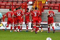 George Francomb (4) of Crawley Town scores the first goal for his team and celebrates during Crawley Town vs Morecambe, Sky Bet EFL League 2 Football at Broadfield Stadium on 17th October 2020