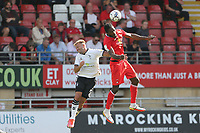 Omar Beckles of Leyton Orient and Hallam Hope of Oldham Athletic during Leyton Orient vs Oldham Athletic, Sky Bet EFL League 2 Football at The Breyer Group Stadium on 11th September 2021