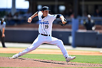 Asheville Tourists pitcher Danny Cody (19) delivers a pitch during a game against the Greenville Drive on May 23, 2021 at McCormick Field in Asheville, NC. (Tony Farlow/Four Seam Images)