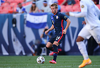 DENVER, CO - JUNE 3: Jackson Yueill #14 of the United States moves with the ball during a game between Honduras and USMNT at EMPOWER FIELD AT MILE HIGH on June 3, 2021 in Denver, Colorado.