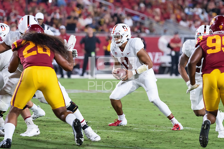 LOS ANGELES, CA - SEPTEMBER 11: Isaiah Sanders during a game between University of Southern California and Stanford Football at Los Angeles Memorial Coliseum on September 11, 2021 in Los Angeles, California.