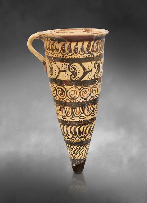 "Minoan decorated conical rhython geometric design , Konssos  'Unexplored Mansion"" 1450-1370 BC;  Heraklion Archaeological  Museum, grey background"