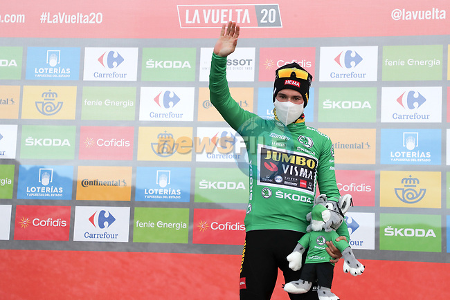 Race leader Primoz Poglic (SLO) Team Jumbo-Visma retains the points Green Jersey at the end of Stage 12 of the Vuelta Espana 2020 running 109.4km from Pola de Laviana to Alto de l'Angliru, Spain. 1st November 2020..    <br /> Picture: Luis Angel Gomez/PhotoSportGomez | Cyclefile<br /> <br /> All photos usage must carry mandatory copyright credit (© Cyclefile | Luis Angel Gomez/PhotoSportGomez)