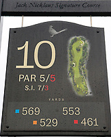 3rd July 2021; Mount Juliet Golf Club, Kilkenny, Ireland; Dubai Duty Free Irish Open Golf, Day Three; The 10th hole yardage marker