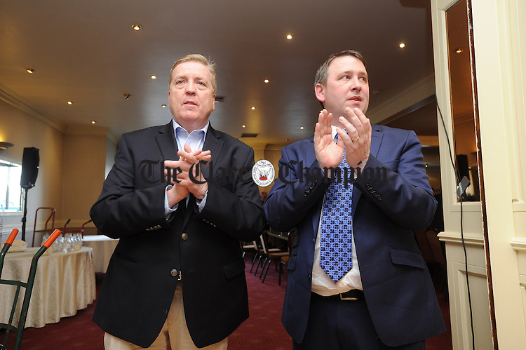 Pat Breen, Fine Gael, and Joe Carey, Fine Gael,  at theGE2016 count in Ennistymon. Photograph by John Kelly.