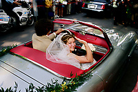 Montreal (Qc) CANADA - May 28 2005<br /> -File Photo -<br /> <br /> Pierre E Trudeau son ; Justin get married to Sophie Gregoire a former model and Quebec television host. in Outremont, May 28 2005.<br /> After the wedding they left in Pierre Trudeau vintage convertible car.<br /> <br /> (born December 25, 1971 in Ottawa, Ontario, Canada) is the eldest son of the late former Canadian Prime Minister Pierre Trudeau and Margaret Sinclair Trudeau Kemper. Trudeau has recently won the federal Liberal Party nomination in the Montreal riding of Papineau.