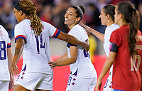 HOUSTON, TX - FEBRUARY 03: Christen Press #20 of the United States scores a goal and celebrates with her USWNT during a game between Costa Rica and USWNT at BBVA Stadium on February 03, 2020 in Houston, Texas.