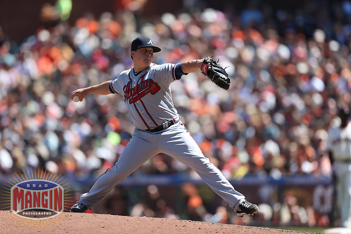 SAN FRANCISCO, CA - MAY 12:  Kris Medlen #54 of the Atlanta Braves pitches during the game against the San Francisco Giants at AT&T Park on Sunday, May 12, 2013 in San Francisco, California. Photo by Brad Mangin