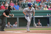 Third baseman Joe Perez (8) of the Asheville Tourists in a game against the Greenville Drive on Tuesday, June 1, 2021, at Fluor Field at the West End in Greenville, South Carolina. (Tom Priddy/Four Seam Images)