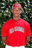Outfielder Byron Buxton #11 poses for a photo before the Under Armour All-American Game at Wrigley Field on August 13, 2011 in Chicago, Illinois.  (Mike Janes/Four Seam Images)