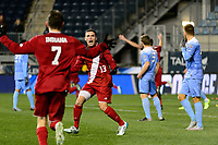 Chester, PA - Friday December 08, 2017: Francesco Moore celebrates the team's goal The Indiana Hoosiers defeated the North Carolina Tar Heels 1-0 during an NCAA Men's College Cup semifinal soccer match at Talen Energy Stadium.