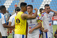 SANTA MARTA - COLOMBIA, 11-05-2019: Jugadores del pasto celebran después del partido por la fecha 1, cuadrangulares semifinales, de la Liga Águila I 2019 entre Unión Magdalena y Deportivo Pasto jugado en el estadio Sierra Nevada de la ciudad de Santa Marta. / Players of Pasto celebrate after the match for the date 1 of the semifinal quadrangular as part Aguila League I 2019 between Union Magdalena and Deportivo Pasto played at Sierra Nevada stadium in Santa Marta city. Photo: VizzorImage / Gustavo Pacheco / Cont
