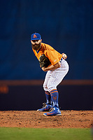 St. Lucie Mets relief pitcher Adam Atkins (36) looks in for the sign during a game against the Daytona Tortugas on August 3, 2018 at First Data Field in Port St. Lucie, Florida.  Daytona defeated St. Lucie 3-2.  (Mike Janes/Four Seam Images)