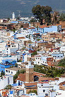 Chefchaouen, Morocco.  City View from the Trail to the Spanish Mosque.
