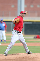 Kramer Sneed #31 of the Los Angeles Angels pitches during a Minor League Spring Training Game against the Chicago Cubs at the Los Angeles Angels Spring Training Complex on March 23, 2014 in Tempe, Arizona. (Larry Goren/Four Seam Images)