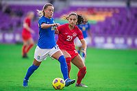ORLANDO, FL - FEBRUARY 24: Andressinha #17 of Brazil and Jordyn Listro #21 of the CANWNT battle for the ball during a game between Brazil and Canada at Exploria Stadium on February 24, 2021 in Orlando, Florida.