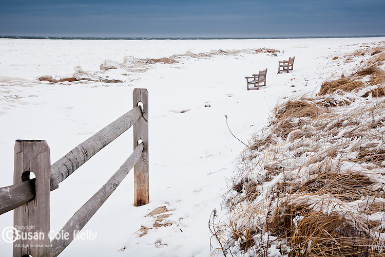 A winter storm at Paines Creek Beach in Brewster, Cape Cod, MA, USA