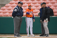 Clemson Tigers head coach Jack Leggett #7 goes over the ground rules with Wake Forest Demon Deacons head coach Rick Rembielak #8 at Doug Kingsmore stadium March 13, 2009 in Clemson, SC. (Photo by Brian Westerholt / Four Seam Images)